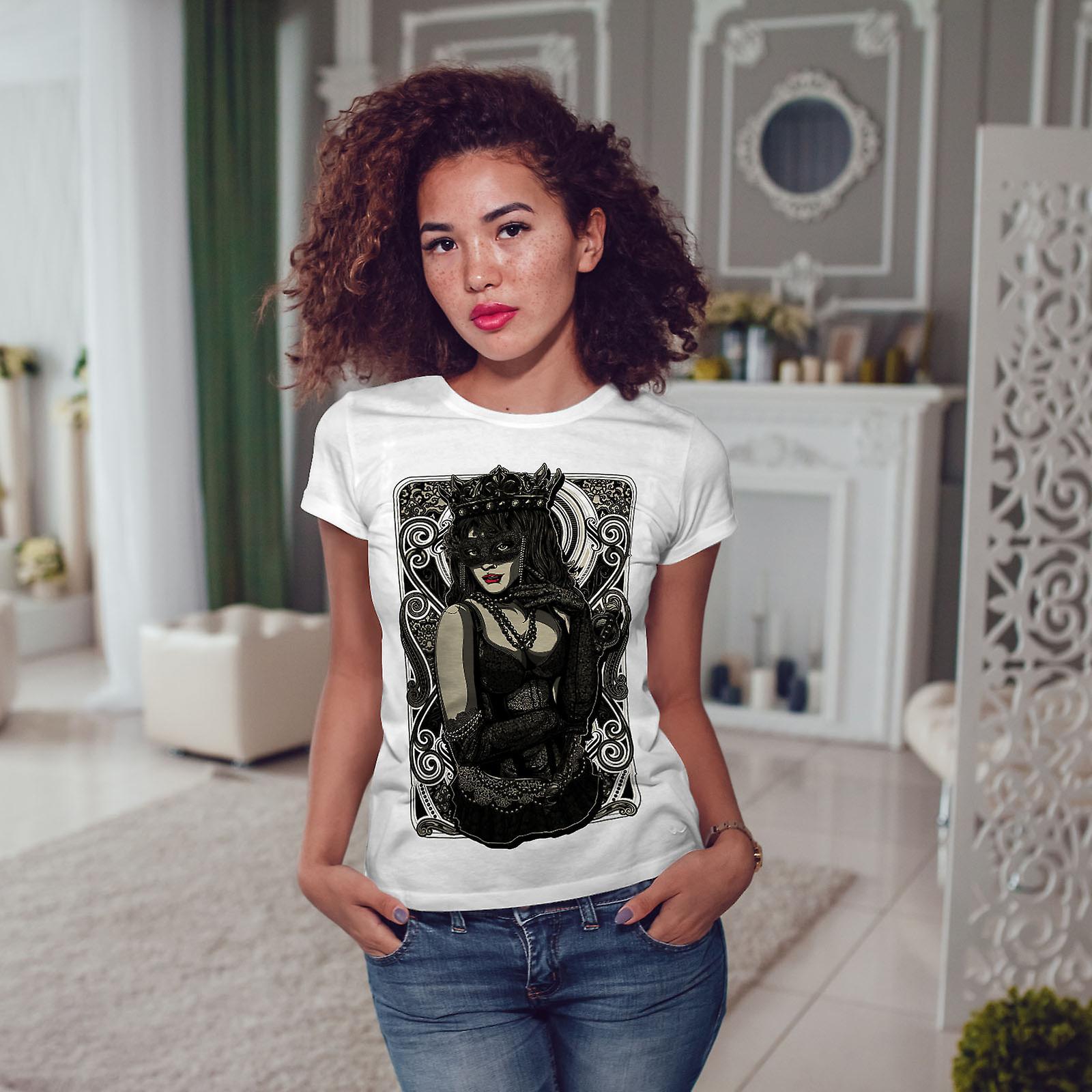 WhiteT-chemise de femme fille masque Reine | Wellcoda