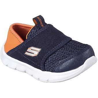Skechers Boys Comfy Flex Slip On Mesh Contrast Trainers Shoes