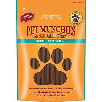 Pet Munchies Beef Liver Sticks 90g, pack of 8
