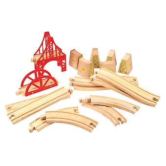 Bigjigs Rail Wooden Bridge Track Expansion Set Railway Train Playset