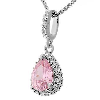 Orphelia Silver 925 Pendant Drop met ketting 42 + 3 Cm roze kleur zirkonium ZH-7226/PI