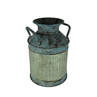 Blue Vintage Finish Ribbed Metal Milk Can Planter