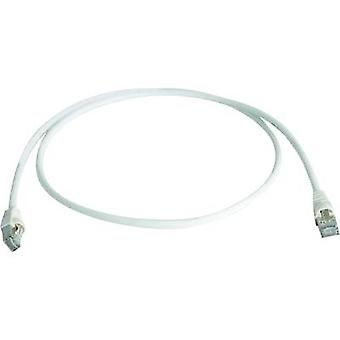 Telegärtner RJ45 Network cable, patch cable CAT 6A S/FTP 1.00 m White Flame-retardant, Halogen-free