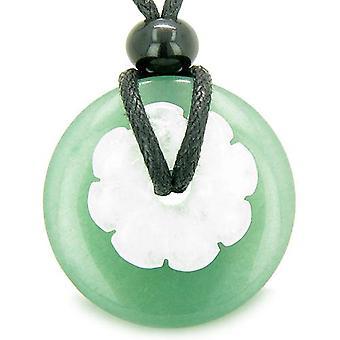 Amulette de chance double Donut magique fleur Protection Jade Aventurine verte Collier pendentif en argent