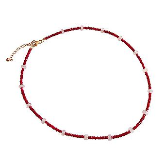 Gemshine Damen Halskette Vergoldet Rubin Rot Mondstein Weiß Facettiert