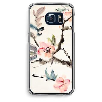 Samsung Galaxy S6 Edge Transparent fodral (Soft) - Japenese blommor