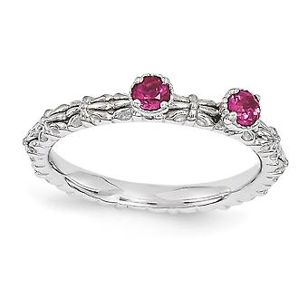 2.5mm 925 Sterling Silver Polished Prong set Rhodium plated Stackable Expressions Created Ruby Two Stone Ring Jewelry Gi