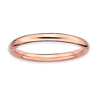 925 Sterling Silver Stackable Expressions Pink plated Polished Ring Jewelry Gifts for Women - Ring Size: 5 to 10