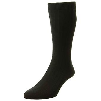 Pantherella Pembrey Sea Island katoen sokken - zwart