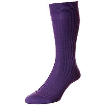 Pantherella Laburnum Merino Wool Socks - Deep Purple