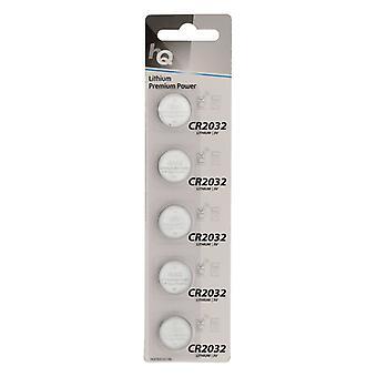 Hq HQCR2032/5BL Lithium Knoopcel Cr2032 Batterij 3 V, Blister 5 Stuks