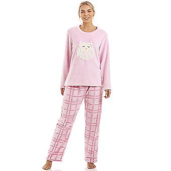 Camille Pink rutete super Fleece ugle karakter Pyjama satt