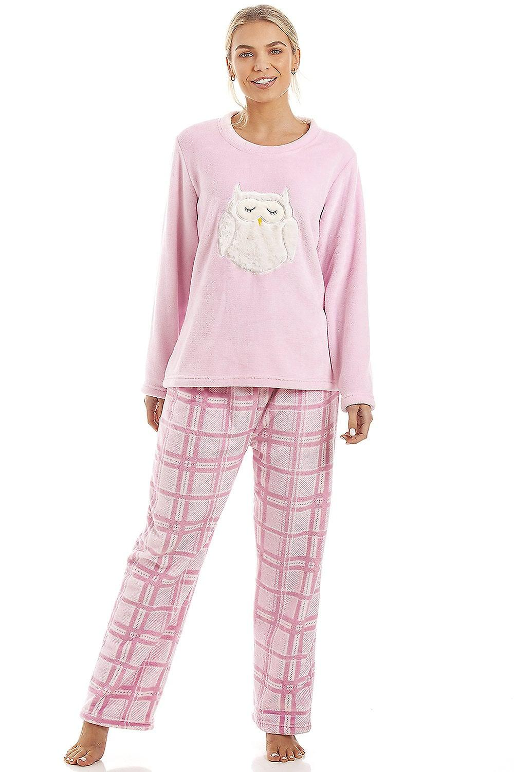 Camille Pink Checkered Supersoft Fleece Owl Character Pyjama Set