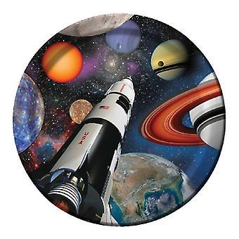 Plass verdensrommet partiet plate papp 23 cm 8pcs astronauten partiet bursdag dekorasjon