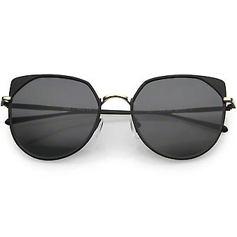 Modern Matte Metal Cat Eye Sunglasses Flat Lens 56mm