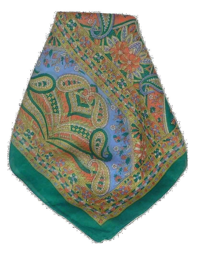 Mulberry Silk Traditional Long Scarf Chawl Teal by Pashmina & Silk