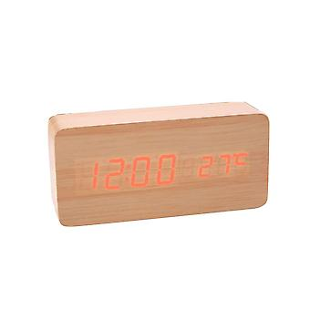 Digital LED Alarm Clock in wood design-wood/red