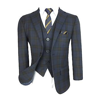 Boys Tailored Fit English Check Suit in Navy Blue Brown