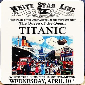 Titanic, White Star Line - Drinks Mat / Coaster (og)