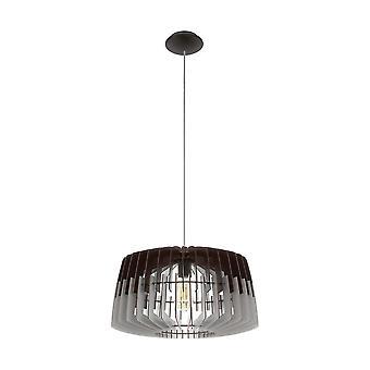 Eglo - Artana Single luz teto grande pingente em acabamento de níquel acetinado com cinza e preto de madeira sombra EG96956