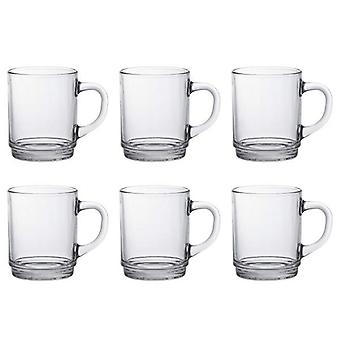 Pack Of 6 Duralex Versailles Traditional French Mugs Glassware Set Clear 26Cl