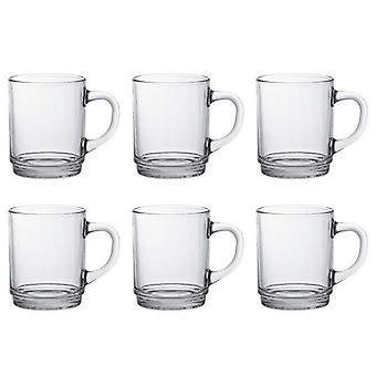 Set Pack de 6 Versalles duraléx tradicional francés tazas vidrio claro Cl 26