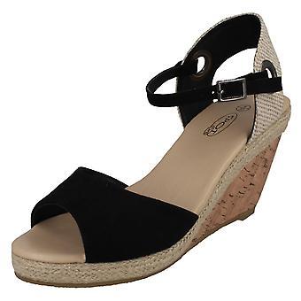 Ladies Spot On Cork Wedge Sandals F2265