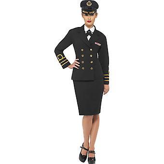 Jupe de veste noire naval officier Costume dames se moquent chemise et une casquette