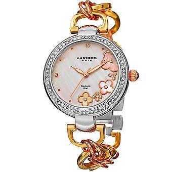 Akribos XXIV femmes diamant véritable cadran floral Twist chaîne bracelet montre AK874TRI