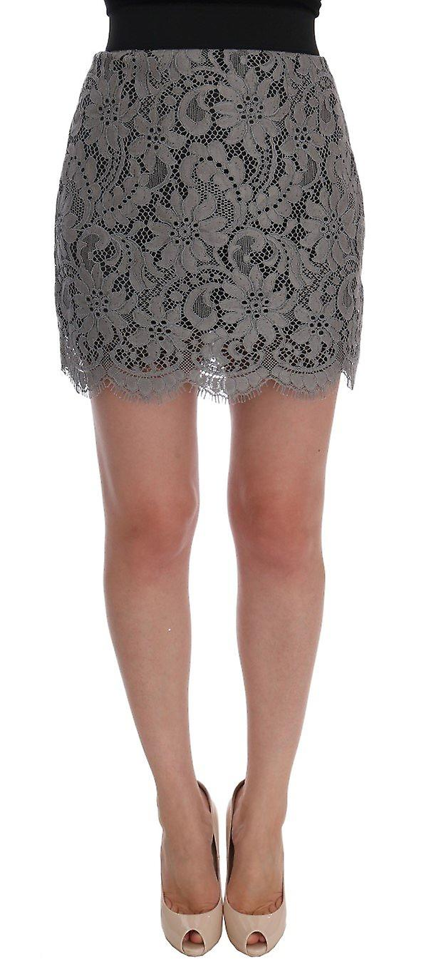 Gray floral lace cotton mini skirt