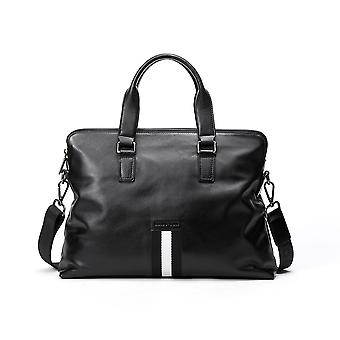 Black Leather Contrast Trim Tote Bag 15.0