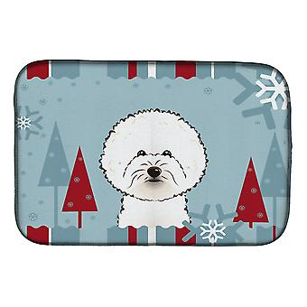 Carolines Treasures  BB1713DDM Winter Holiday Bichon Frise Dish Drying Mat