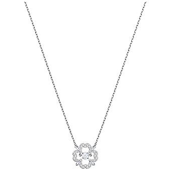Swarovski Sparkling Dance Flower Necklace - White - Rhodium Plating - 5392759