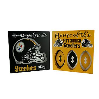 NFL Pittsburgh Steelers Cut Out Helmet and Football Shapes Wall Hangings
