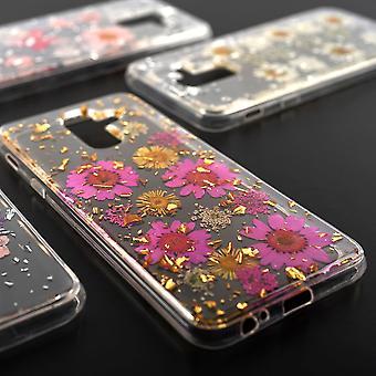 Blumen Soft Cover Case für Samsung Galaxy A6 Plus 2018 A605 4smarts Glamour Bouquet Rosa Silber