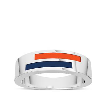University Of Virginia Sterling Silver Asymmetric Enamel Ring In Orange and Blue
