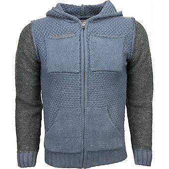 Casual Vest - Knitted Wool Hood Two Colors - Blue