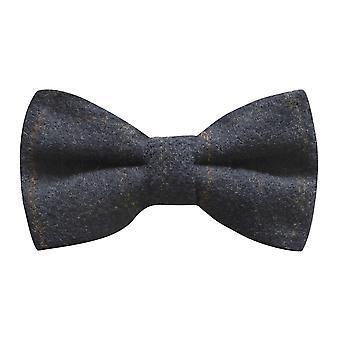 Erfgoed Check donkerblauw strikje, Tweed, land vlinderdas