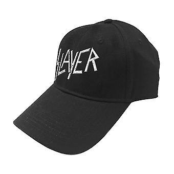Slayer Baseball Cap Classic Band Logo Sonic Silver new Official Black Strapback