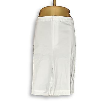 Susan Graver Women's Plus Shorts Coastal Stretch Zip Front White A277817