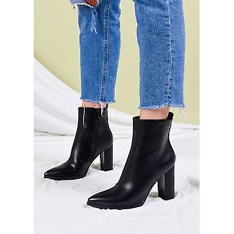 Faux cuir Block Heel Pointed Toe Ankle Boots Noir