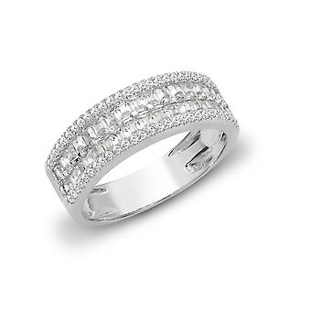 Jewelco London Solid 18ct White Gold Channel Set Baguette G SI1 1.3ct Diamond Double Decker Eternity Ring 6mm