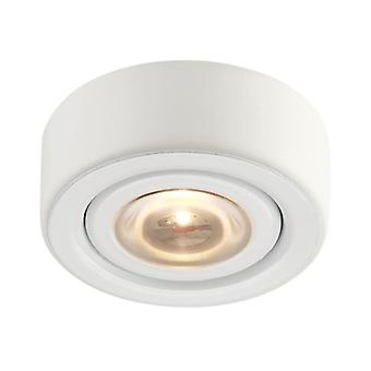 Eco 1-light puck light in white with clear glass diffuser - integrated led elk lighting