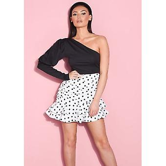 Ruched Polka Dot Layered Frill Hem Mini Falda Blanco