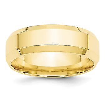 10k Gul Guld Solid Poleret Indgraveret Facet 7mm Facet Comfort Fit Band Ring smykker Gaver til kvinder - Ri