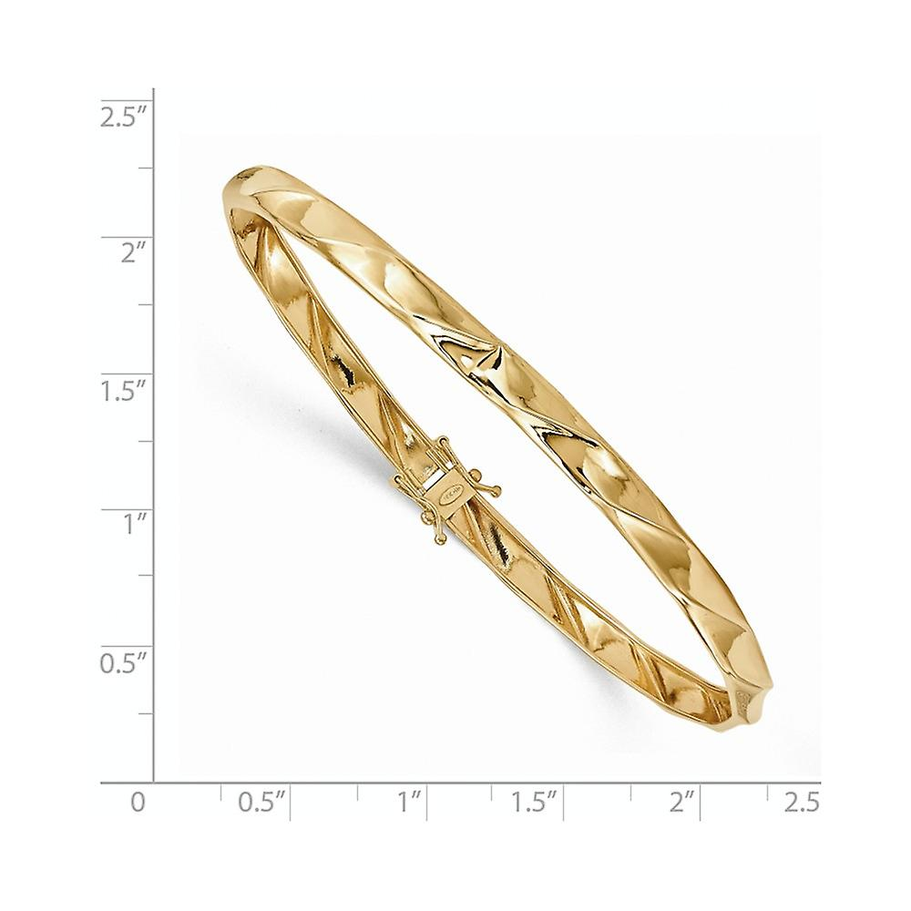 Für Nizza Fantastisk pris 5mm 14k Yellow Gold Polished Twisted Cuff Stackable Bangle Bracelet Jewelry Gifts for Women MAYx6