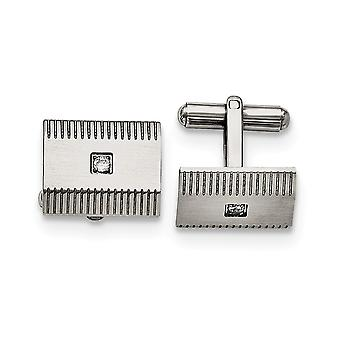 Stainless Steel Polished and Brushed CZ Cubic Zirconia Simulated Diamond Cuff Links Jewelry Gifts for Men