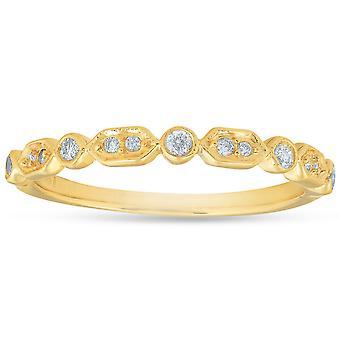 1 / 6ct алмаз обручальное кольцо 14k желтое золото