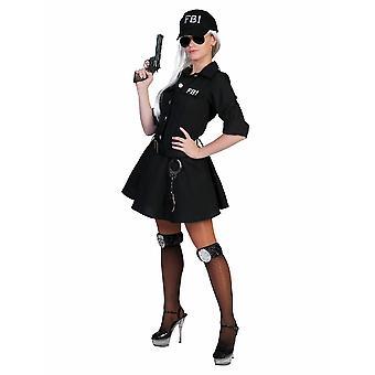 FBI Agentin Kostüm Damen schwarz 3 teilig mit Basecap Damenkostüm