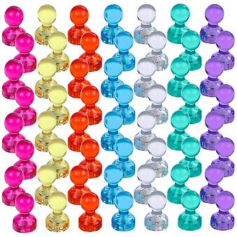 56 Pieces Colored Colorful Transparent Magnets Whiteboard Magnets Vision Board Magnets for Refrigerators 7 Colors